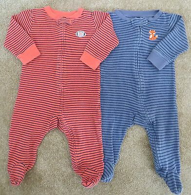 2-Carters Baby Boy One-Piece Sleepers 1-Blue 1-Orange Striped Front Zip 9 Month