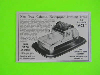 1941 Two Columm Newspaper Printing Press ~ The Superior Ace Co. ~ Toy Art Ad