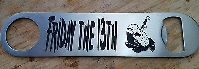 Friday the 13th title stainless steel bottle opener/church key