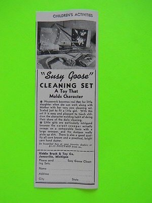 1941 Susy Goose Cleaning Set ~ Kiddie Brush & Toy Co. ~ Christmas Sales Art Ad