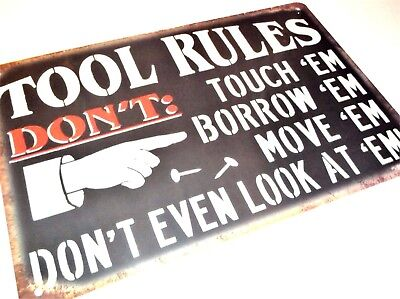 TOOL RULES METAL TIN SIGNS vintage cafe pub bar garage man cave workshop