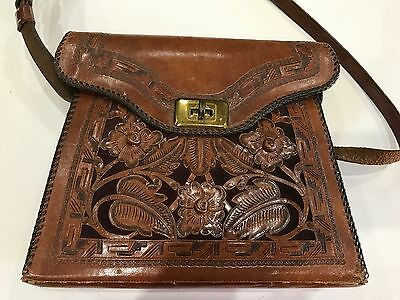 60's Vintage Cognac Tooled Leather ABTIK  Bags Hand made Shoulder/Handbag