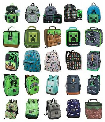 "MINECRAFT 17"" Backpack Creeper Green Pickaxe Mini Grey Blue Diamond  Lunch Box"