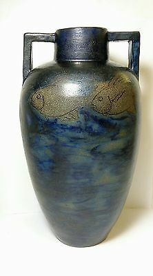Arts & Crafts Russell Crook Salt Glaze Pottery Cobalt Blue & Fish Stoneware Vase
