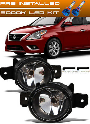 For 2014-2016 Nissan Versa Note Replacement Fog Lights Housing Clear Lens LED