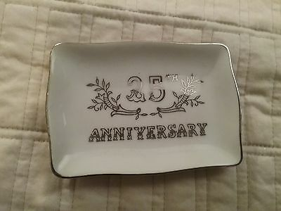 Lefton China 25th Anniversary Trinket Plate Silver White