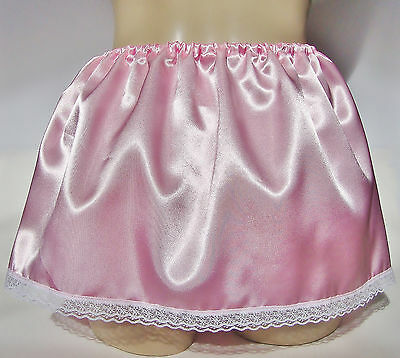 Pink Shiny Satin with White Soft Lace SISSY SKIRT  size L/XL
