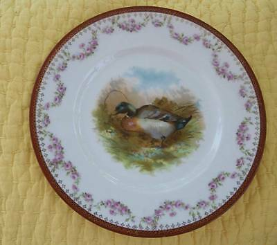 Beautiful Vintage Austrian Hub Plate Duck and Rose Swags