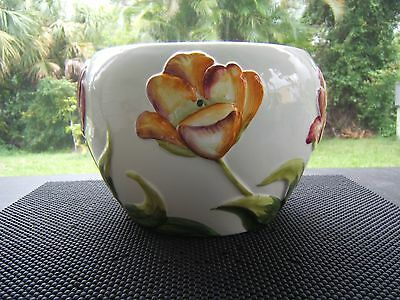 Large Hand Painted Planter Made In Italy Flowers Are Embossed Vibrant Never Used