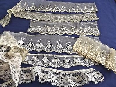 Lot Fine Antique Cotton Lace Trim Samples Brussels Embroidered Net 3 Yards Total