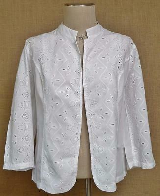 """CHICO'S White Cotton Embroidered & Cut Out Jacket ~ 3/4 Sleeves ~ """"2"""" Med"""