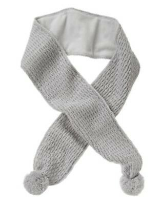 Gymboree Butterfly Garden Gray Cable Pom Sweater Scarf 1-Size Nwt