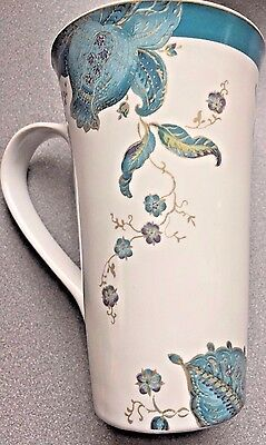 """Fine China Latte / Coffee / Tea Mug By 222 FIFTH """"ELIZA"""" in teal MINT Condition"""