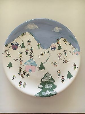 Hand Painted Artist Signed Unique Only One Ceramic Plate, Day On The Slopes