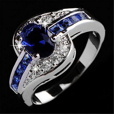 Fashion Women Blue Sapphire White Gold Filled Engagement Ring Wedding Rings New