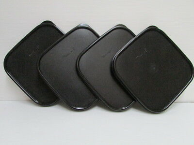 4 NEW Tupperware Modular Mates Square Lid Black Replacement Seal Cover MM #1623
