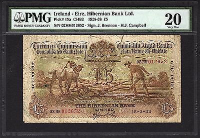 1929-1938 Ireland Five 5 Pounds Ploughman Note PMG 20 Eire, Hibernian Bank RARE