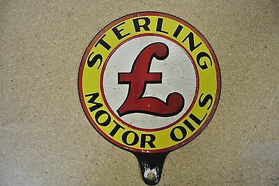 Vintage Original Sterling Motor Oils Lubester Paddle Tin Sign No Reserve!!