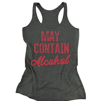 MAY CONTAIN ALCOHOL TEE PLUS SIZE Women Sleeveless Causal Tank Top Vest T-shirts