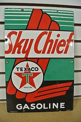 Vintage Original Texaco Sky Chief Gasoline Porcelain Gas Pump Sign Plate NR