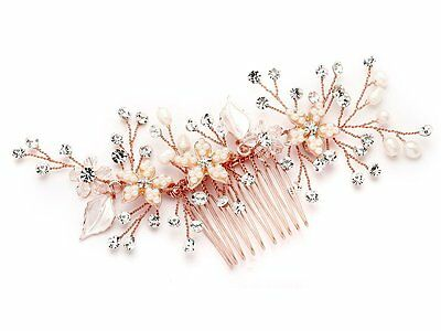 Mariell Handmade Rose Gold Bridal Hair Comb Headpiece with Pearls, Crystals &
