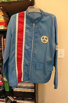 Vintage Pepsi-Cola Windbreaker Jacket Checkered Flag Racing Patches
