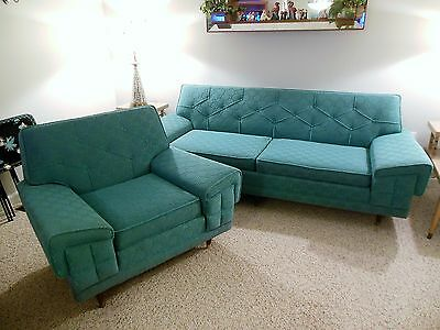 Vintage Retro 1950's Aqua Turquoise Frieze Sofa Couch And Matching Chair