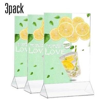 TWING Table Sign Display Holder - Ad Picture Frame Brochure Holder - Clear Ac...