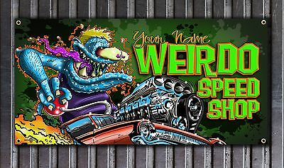 Weirdo Speed Shop Rat Fink Style vinyl shop banner CUSTOMIZING AVAILABLE