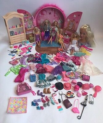 Barbie Doll Case Clothes Accessories Shoes Food Furniture Dolls Styling Head Lot