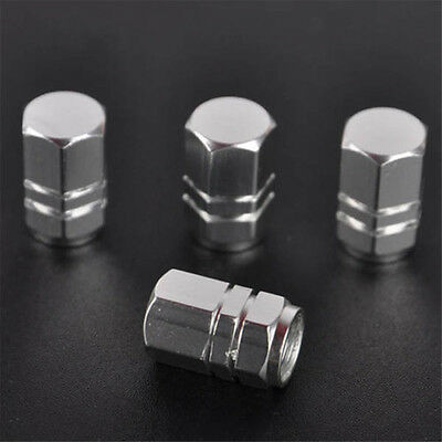 4X Aluminum Tire Wheel Rims Stem Air Valve Caps Silver Tyre Cover Car Truck Bike