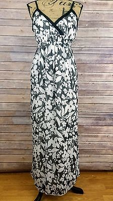 Motherhood Maternity Womens Medium Black and White Floral Print Maxi Dress
