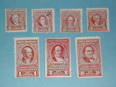 Lot of 7 Documentary Stamps - 1954 - Used
