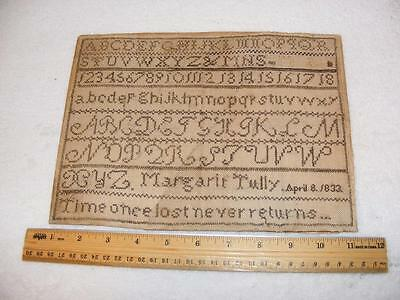 "Antique 1833 Sampler Margarie Tully Size 7-3/4"" x 10-3/8""​"