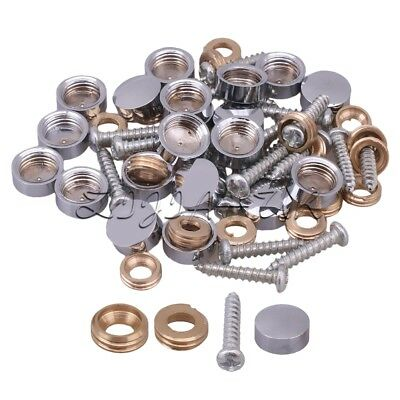 20pcs Metal Decorative Mirror Screws Caps Cover Nails Fitting Silver