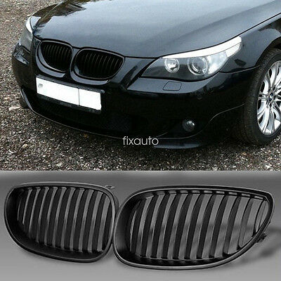 For BMW E60 E61 5SERIES 2003 - 2010 FRONT KIDNEY GRILLE-GRILL MATTE BLACK FIT UK