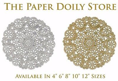 """SILVER & GOLD Medallion FOIL Paper Doilies 