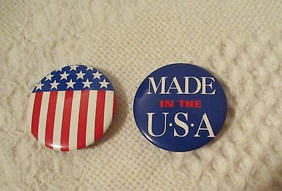 """July 4th Button Pins Brooch - set of 2 - 1-1/4"""" Made in USA & Flag"""