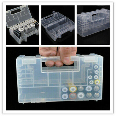 Portable Large Hard Plastic AAA AA C Battery Holder Case Storage Box With Handle