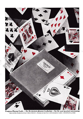 1947 Congress Playing Cards print ad - Fuzzy Box, Cards