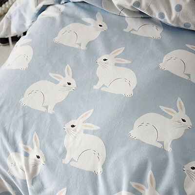 ADAIRS KIDS Bunny Love blue flannelette COT (Jnr Bed) QUILT COVER SET BNIP blue
