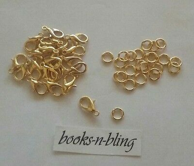 Bulk Pack Findings 50x Gold Plated Lobster Parrot Clasp with 50x Jump Rings