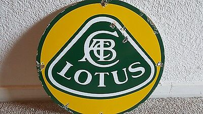 Vintage Lotus  Sales & Service Porcelain Metal Sign,  Gas Oil Pump Plate