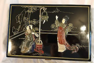Amazing Japanese Lacquered Wood w Soapstone and Bone Geisha Large Jewel Box 1920