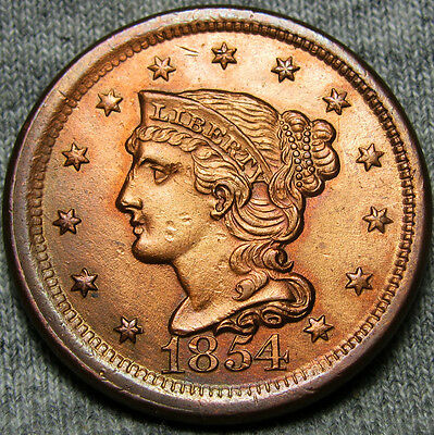 1854 Braided Hair Large Cent  ---- STUNNING Details Type Penny ---- #O552B