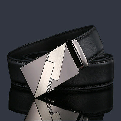 Luxury Men's Leather Automatic Ribbon Waist Strap Belt With Buckle Black
