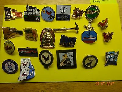 BPOE ELKS 16 Rhode Island Lodge Pins,4 Different  State Pins,2 RI Roosters Pins