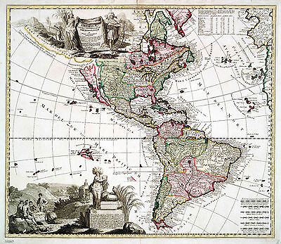 Map of America Reproduction 1700s Print