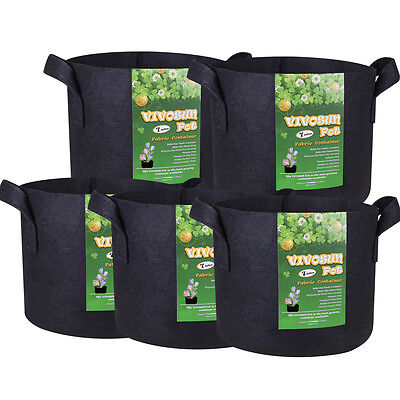 VIVOSUN 5-Pack Fabric Plant Pots Grow Bags w/ Handles 3,5,7,10,15,25,30 Gallon