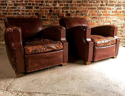 French Armchairs Club Chairs Moustache Cigar Art Deco Pair Red Leather 1930's
